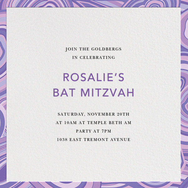 Malachite (Invitation) - Purple - Jonathan Adler - Bar and bat mitzvah