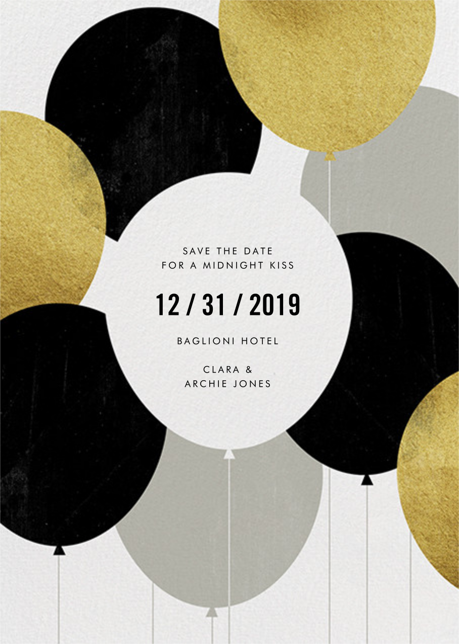 Party Balloons - Gold - Paperless Post - Holiday save the dates