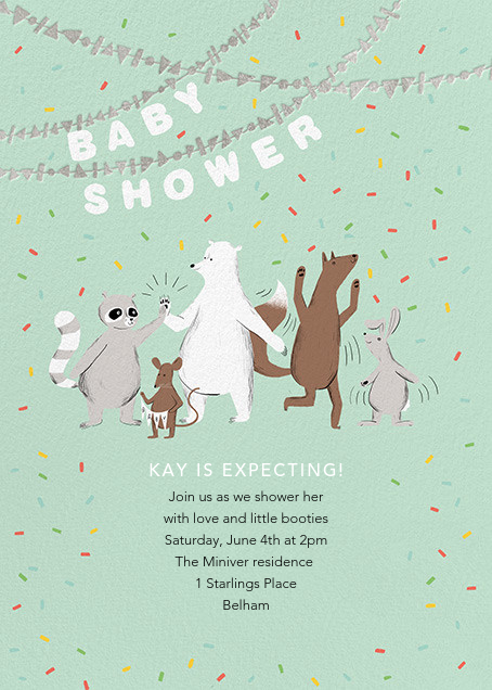 Furfetti - Mint/Silver - Paperless Post - Woodland baby shower