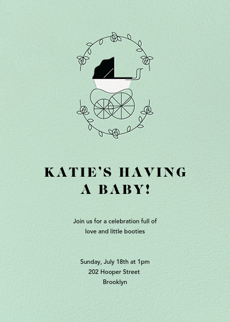 Pram Time - Mint - Paperless Post - Baby shower