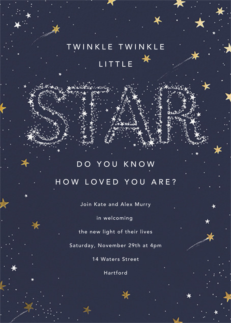 Twinkle Twinkle Little Star - Gold - Paperless Post - Baby shower
