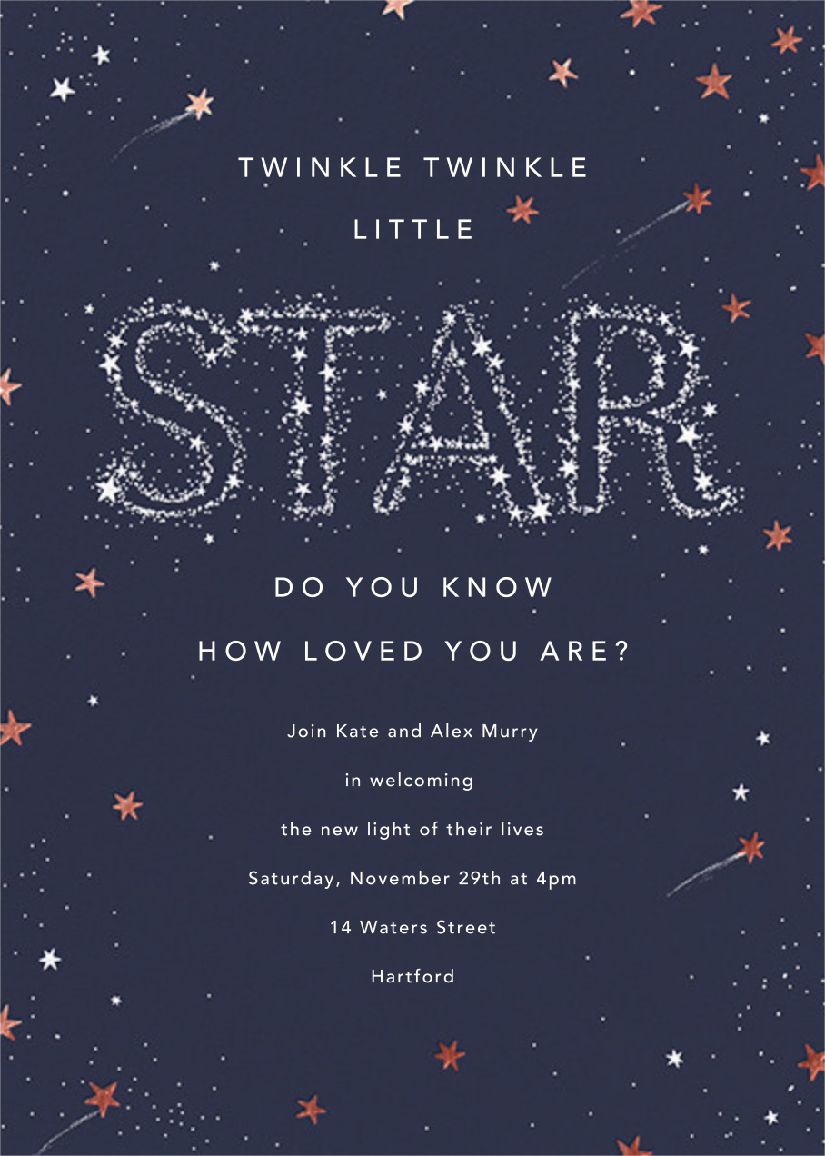 Twinkle Twinkle Little Star - Rose Gold - Paperless Post - Baby shower