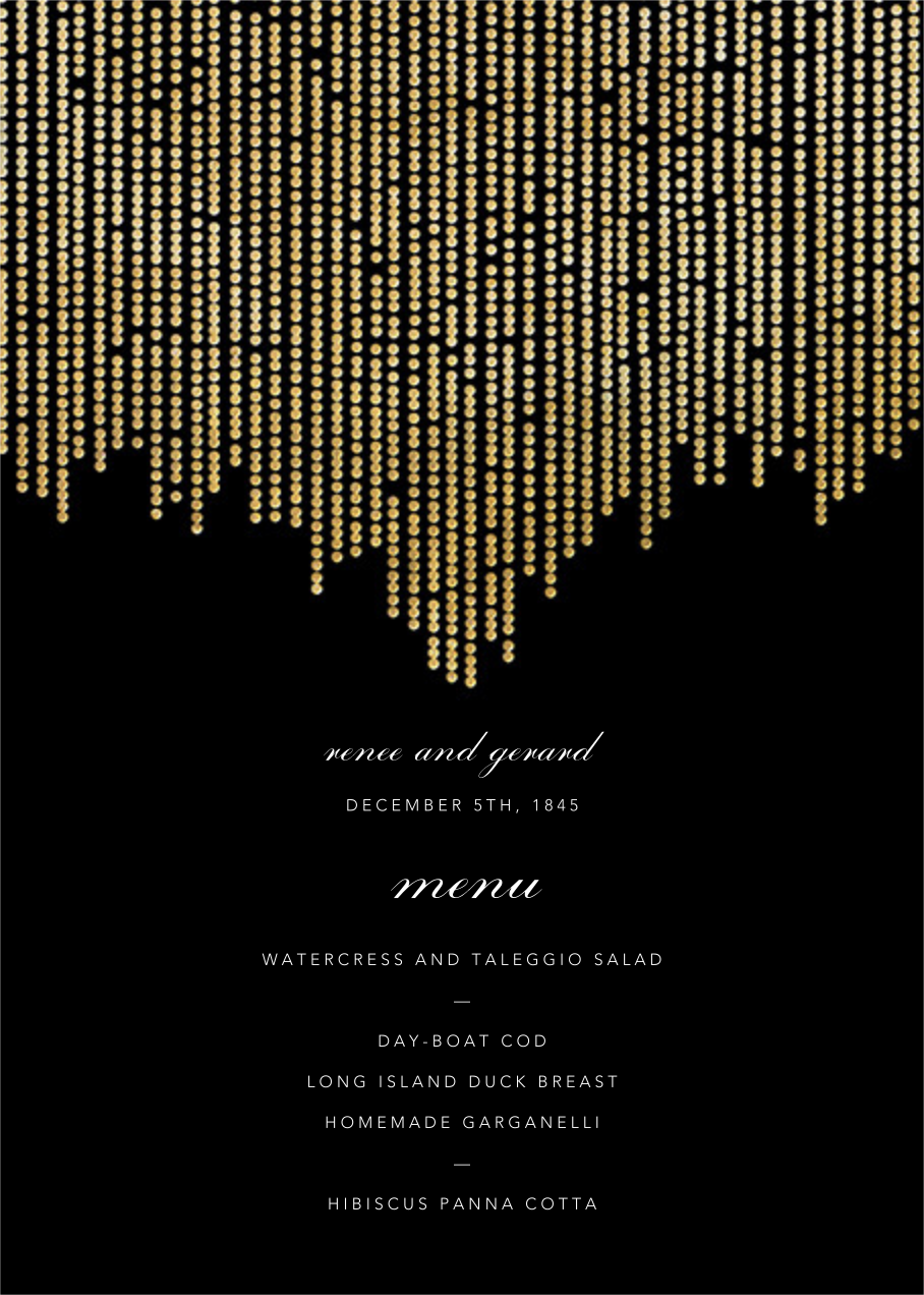 Josephine Baker (Menu) - Black/Gold - Paperless Post - Menus
