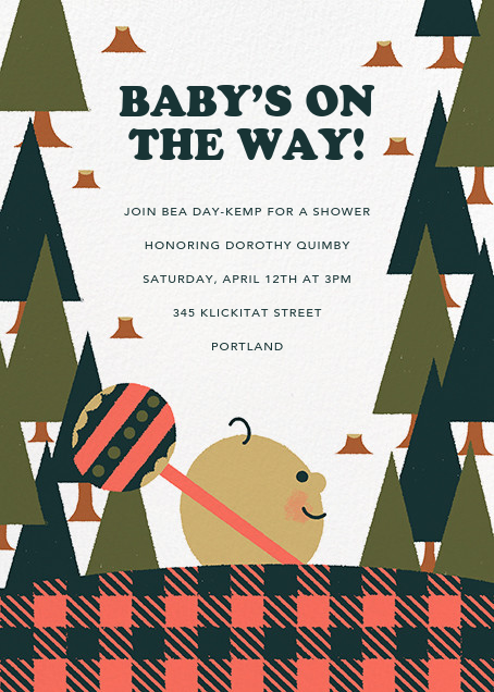 Lumber Party - Dawn - Paperless Post - Woodland baby shower