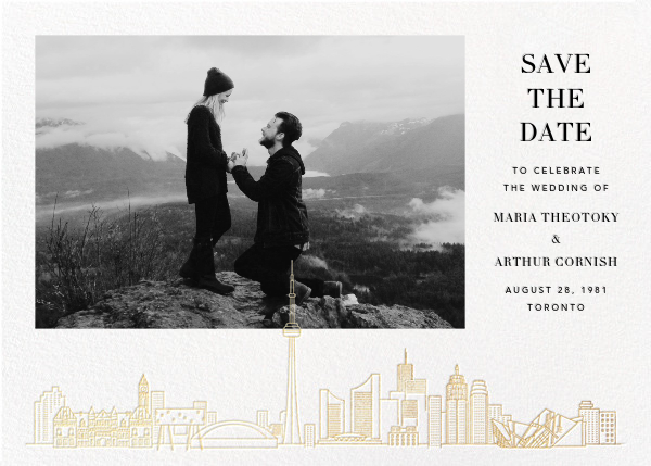Toronto Skyline View (Photo Save the Date) - White/Gold - Paperless Post