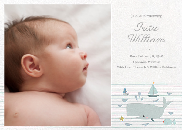 Moby and Co. (Photo) - Little Cube - Baby boy announcements