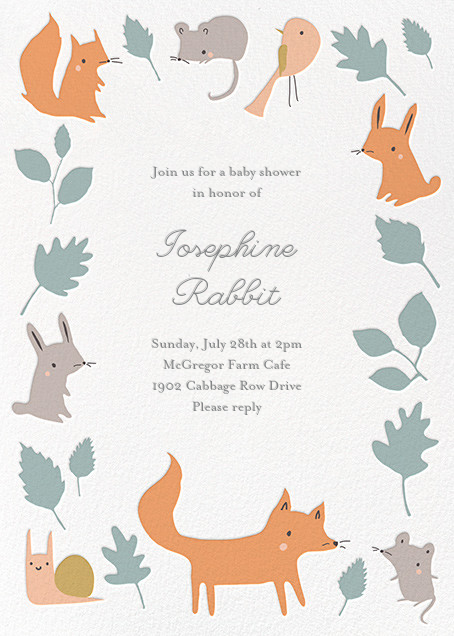 Foxy's Forest Party - Bondi - Little Cube - Woodland baby shower invitations