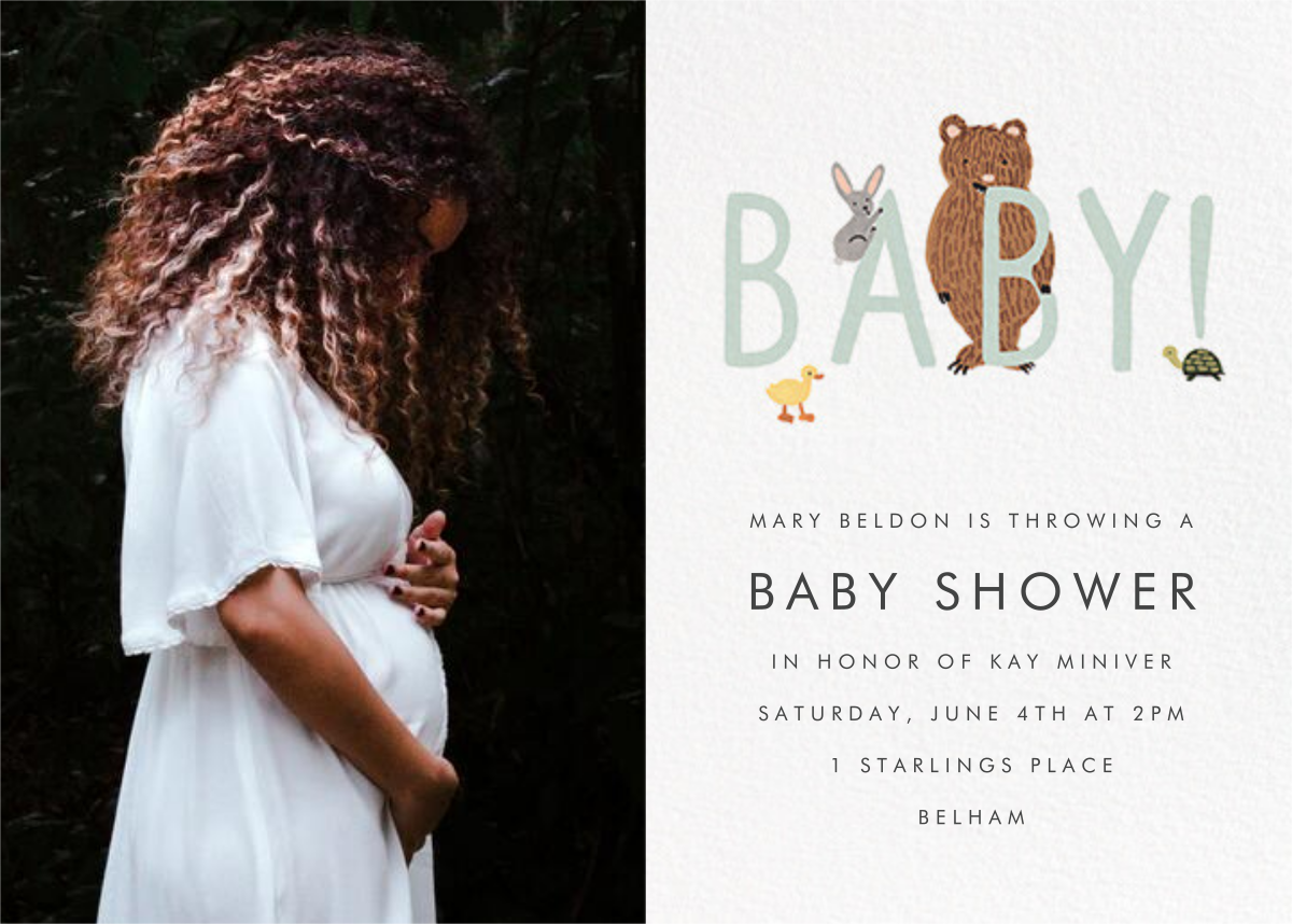 Bunny, Bear, and Baby (Photo) - Mint - Rifle Paper Co. - Woodland baby shower