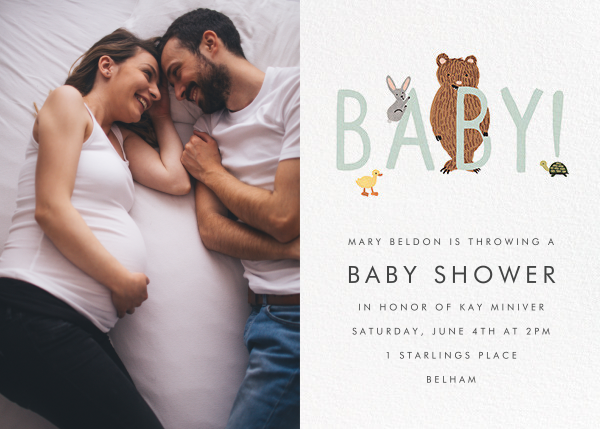 Bunny, Bear, and Baby (Photo) - Mint - Rifle Paper Co. - Woodland baby shower invitations