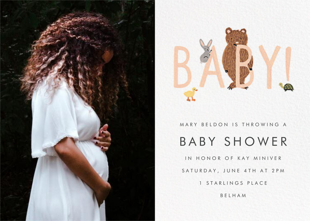 Bunny, Bear, and Baby (Photo) - Peach - Rifle Paper Co. - Woodland baby shower