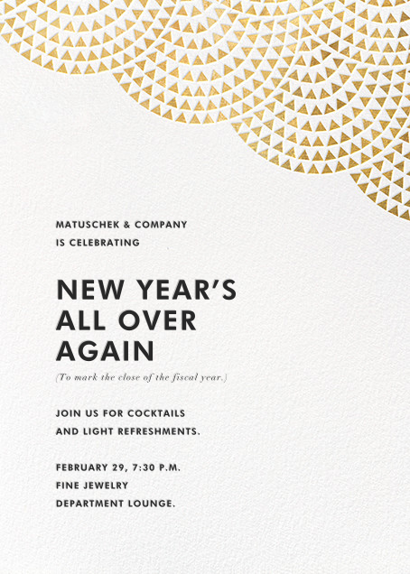 Savoy (Invitation) - Gold - Paperless Post - Reception