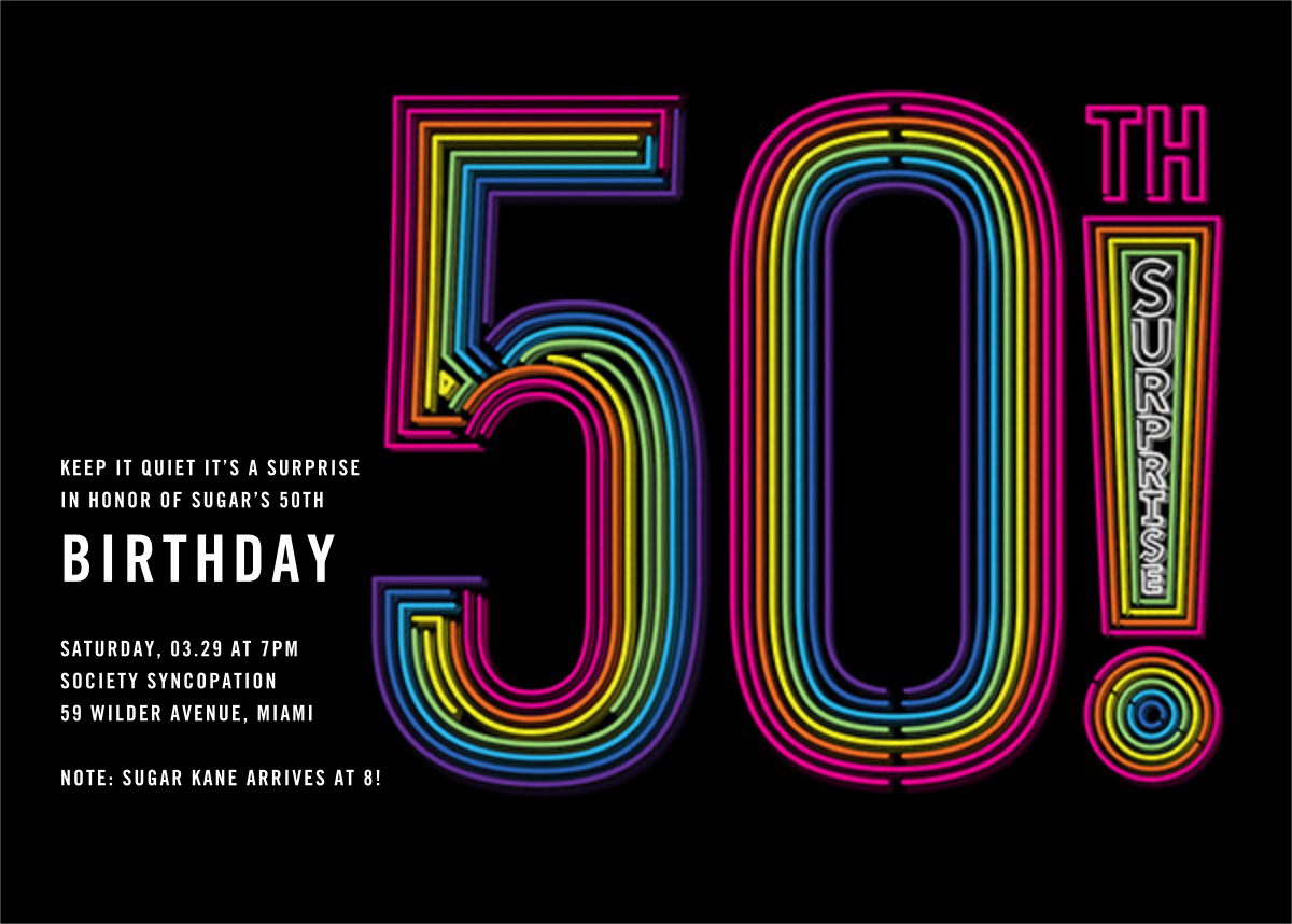 Neon Exclamation Surprise (Fifty) - Paperless Post - Adult birthday
