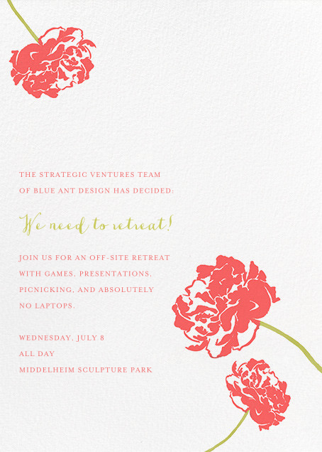 Carnation (Tall) - Coral/Chartreuse - Paperless Post - Casual entertaining