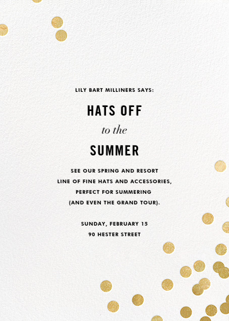 Confetti (Invitation) - White/Gold - kate spade new york - Professional events