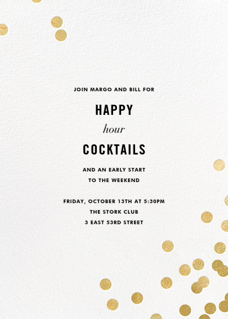 Confetti (Invitation) - White/Gold - kate spade new york - Happy hour