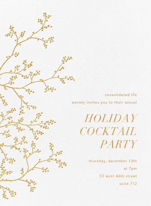 Winter Berries - White/Gold - Paperless Post - Corporate invitations