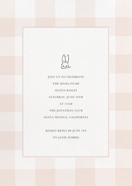 Buffalo Check Bunny - Pink - Sugar Paper - Baby shower