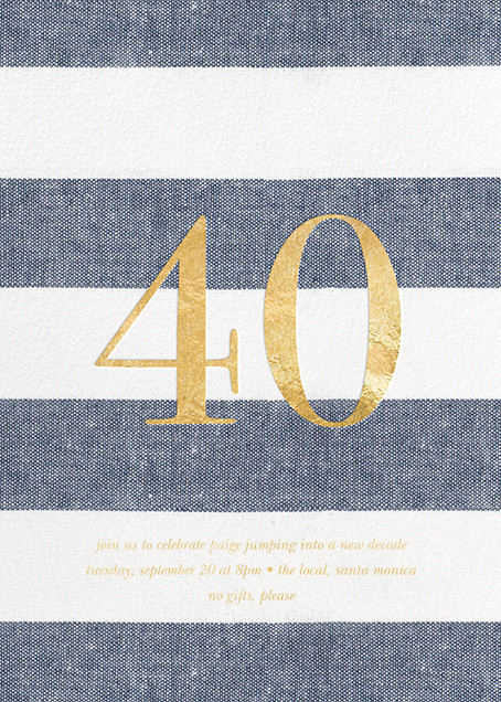 Chambray Stripe - Forty - Sugar Paper - Adult birthday