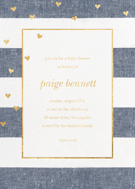 Chambray Stripe with Hearts - Sugar Paper - Baby shower