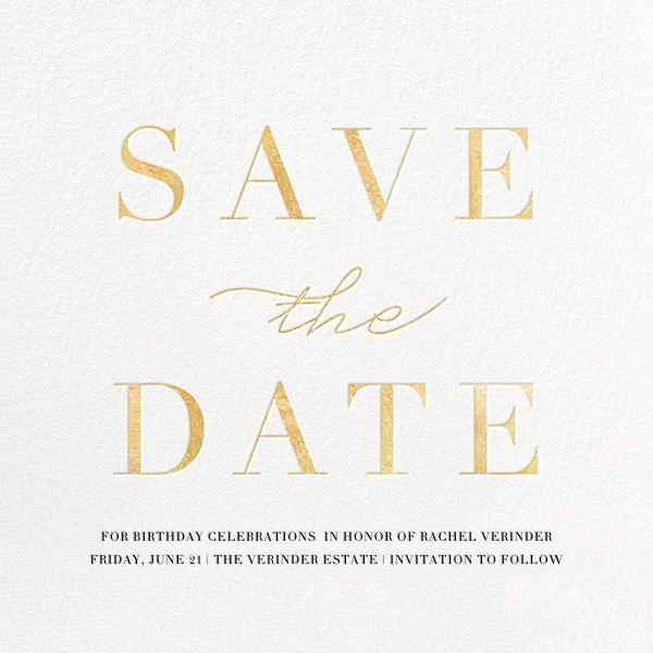 Remnant - Gold - Paperless Post - Birthday save the dates