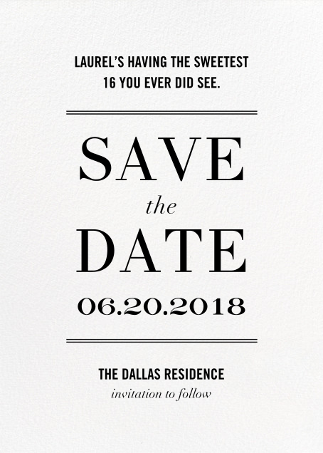 Typographic II (Save the Date) - White - kate spade new york - Party save the dates