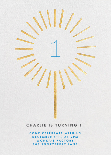 Year of the Sparkler - Gold/White - Paperless Post - 1st birthday