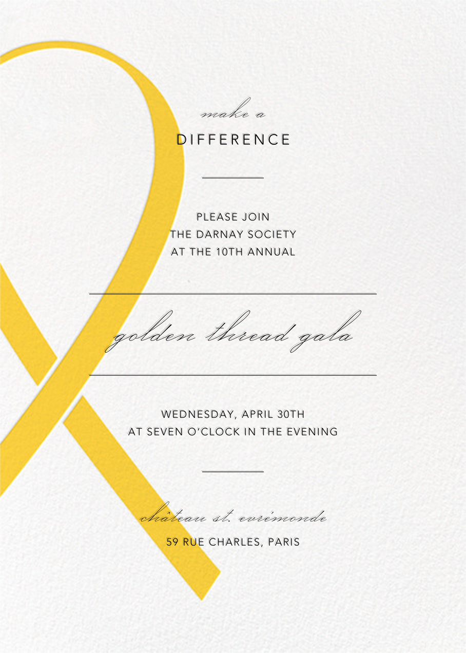Charity Ribbon - Yellow - Paperless Post - Charity and fundraiser