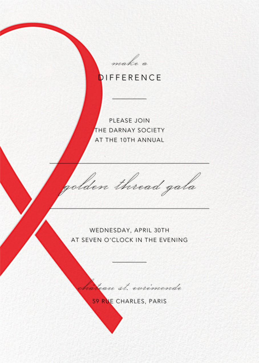 Charity Ribbon - Red - Paperless Post