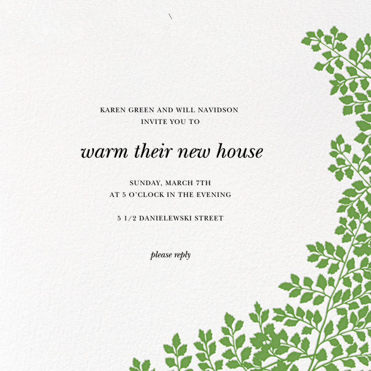 Fern II (Invitation) - Green - Paperless Post - Housewarming