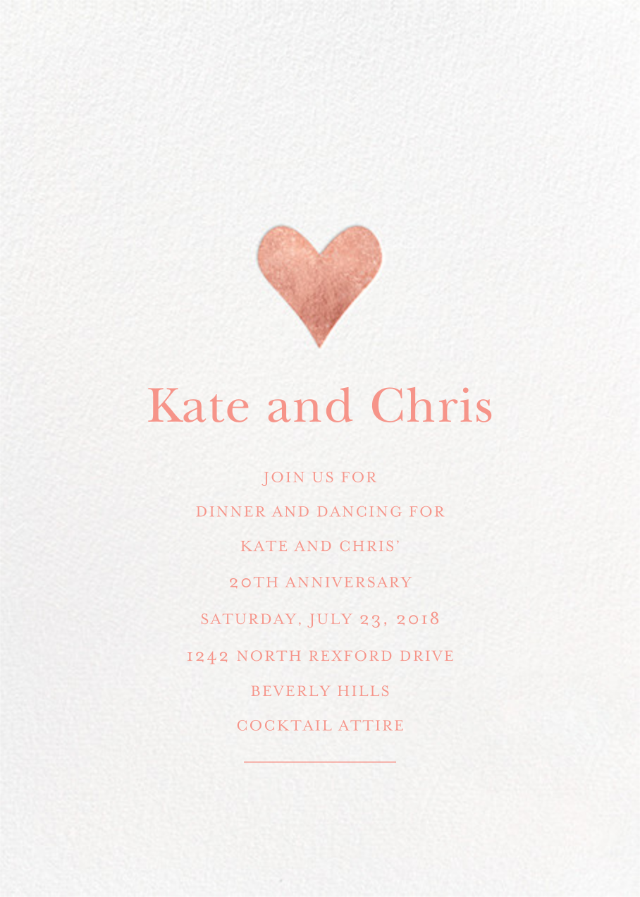 Luminous Heart - White/Rose Gold - Sugar Paper - Anniversary party