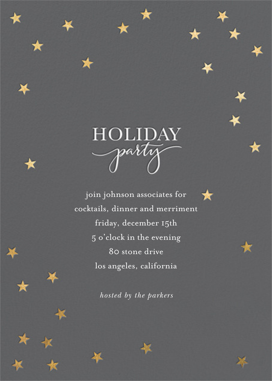 Starry Holiday - Charcoal/Gold - Sugar Paper - Company holiday party
