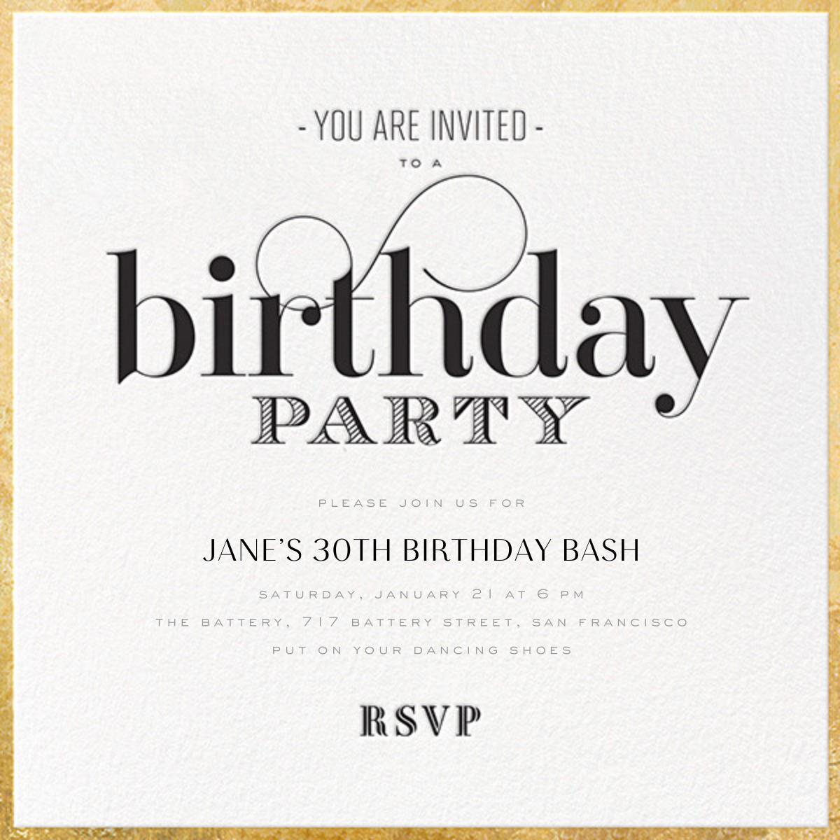 Birthday Swash - bluepoolroad - 50th birthday invitations