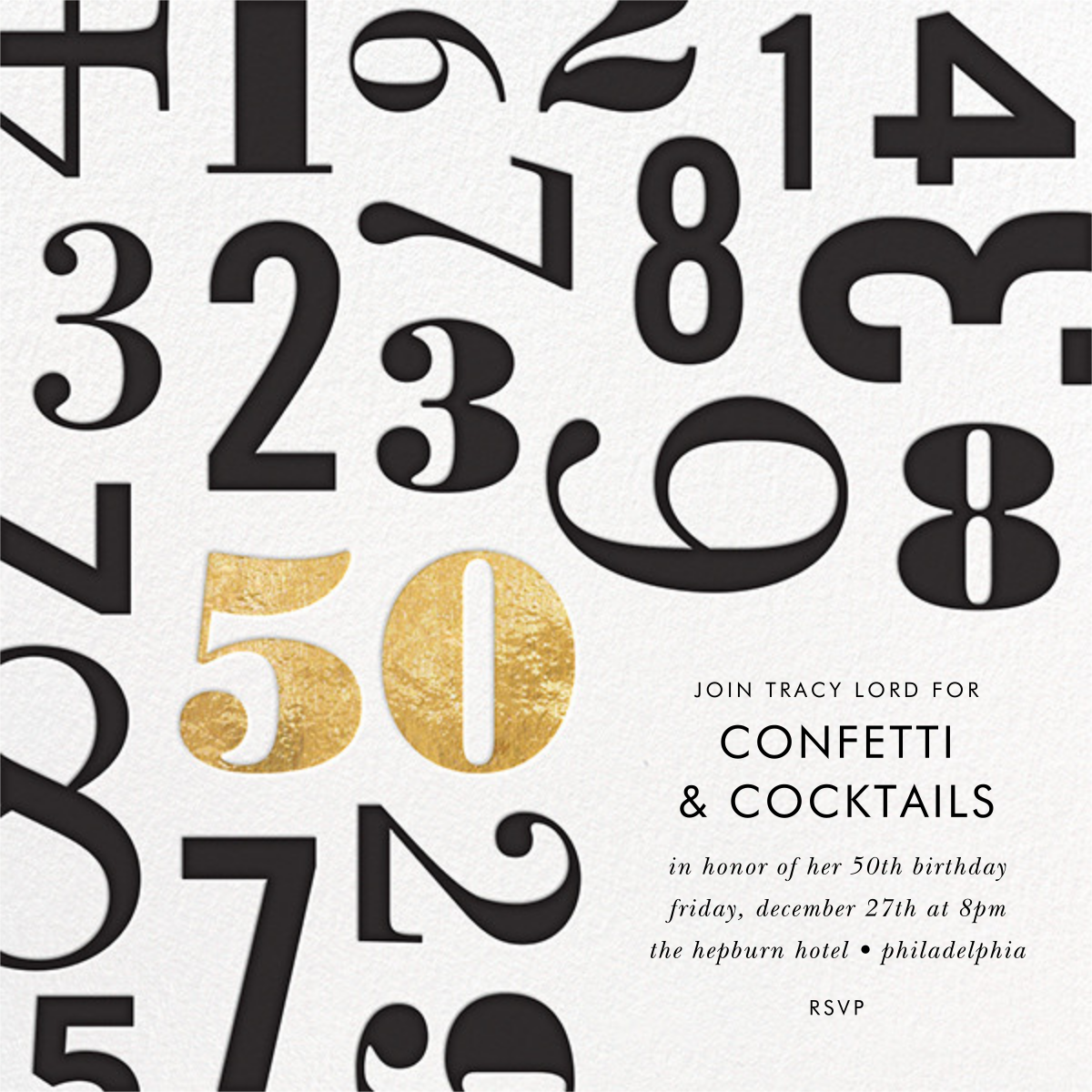 Lucky Number - Fifty - kate spade new york - 50th birthday invitations