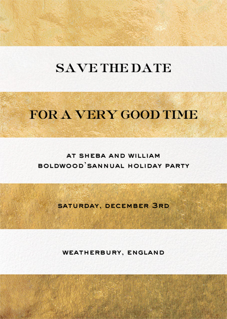 Evergreen Stripes - Gold/White - kate spade new york - Holiday save the dates