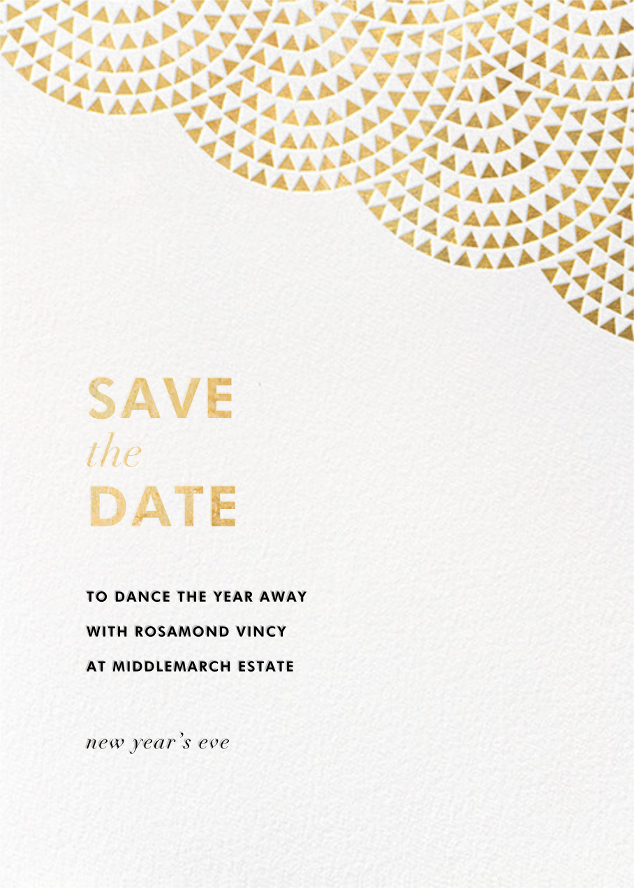Savoy (Save the Date) - Gold - Paperless Post - Holiday save the dates