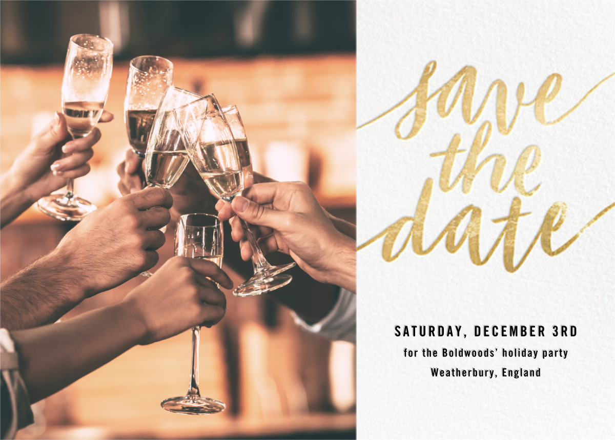 Evelina (Photo) -  White/Gold - Paperless Post - Party save the dates
