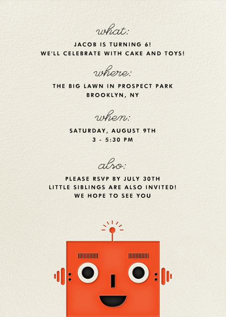 Robot - Orange - The Indigo Bunting - Kids' birthday - card back