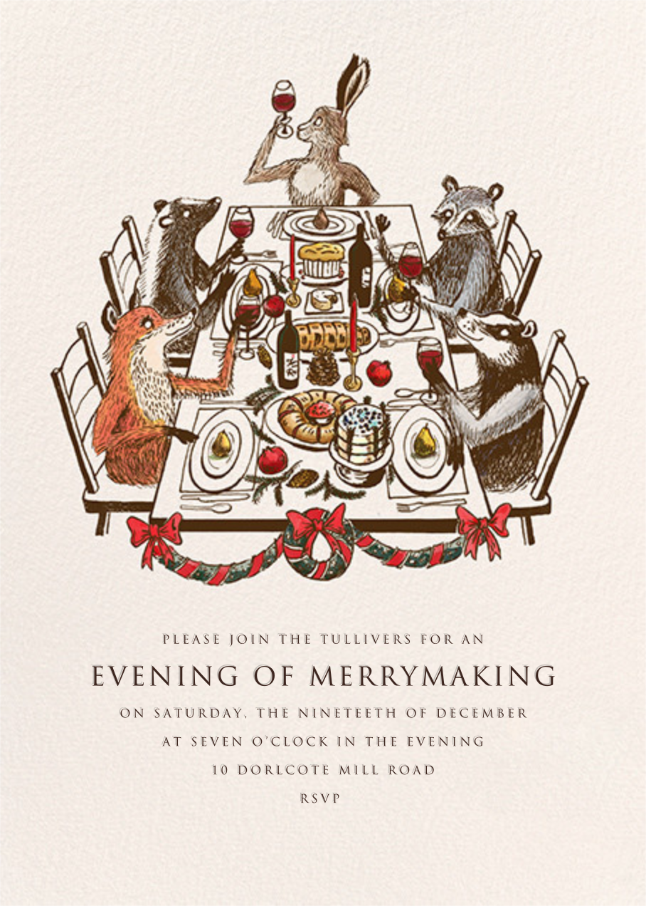 Forest Christmas Feast - Paperless Post - Holiday cocktail party invitations