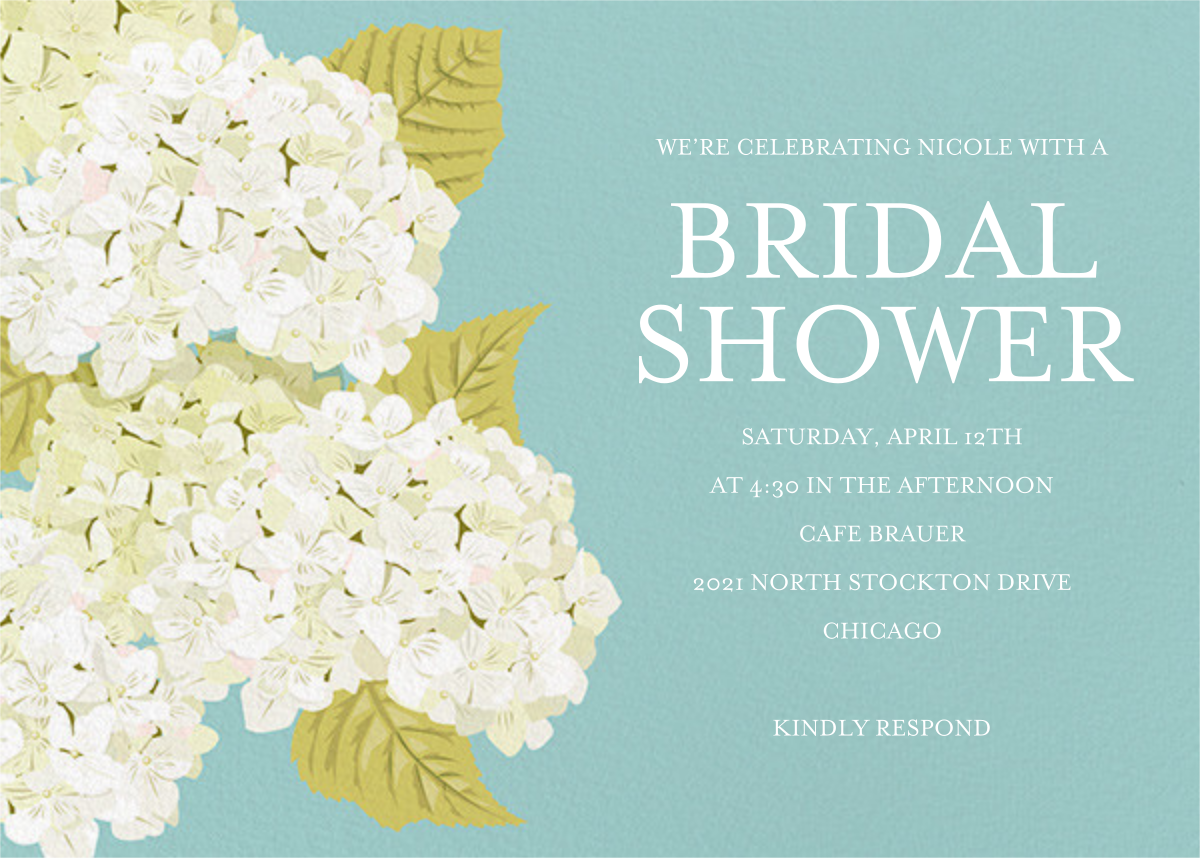 Hydrangea - Paper Source - Bridal shower