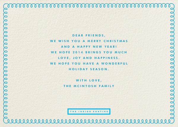 Curly Border - Turquoise - The Indigo Bunting - Holiday cards - card back