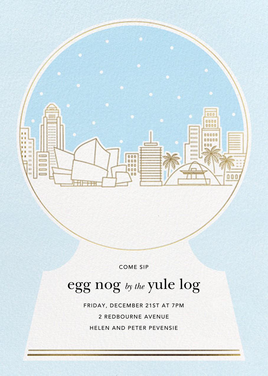 Los Angeles Skyline Snowglobe - Paperless Post - Winter parties