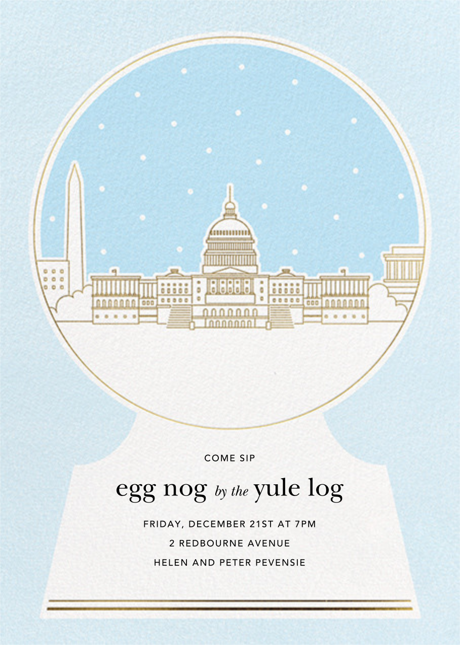Washington D.C. Skyline Snowglobe - Paperless Post - Winter entertaining