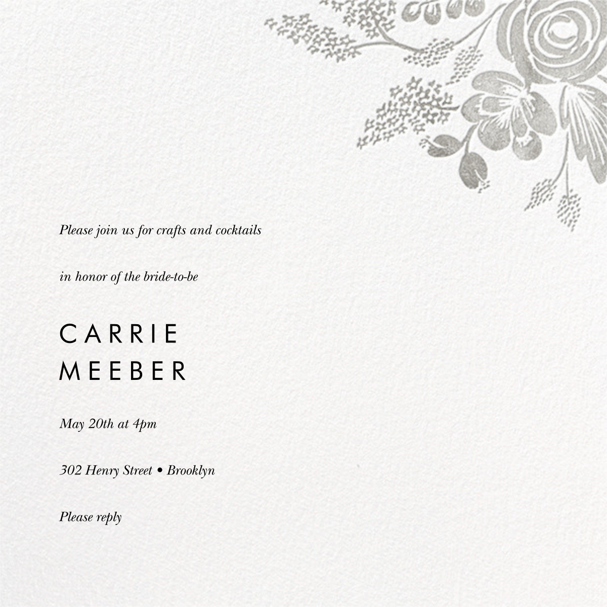 Heather and Lace (Square) - Silver - Rifle Paper Co. - Bridal shower