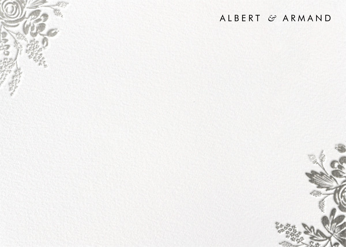 Heather and Lace (Stationery) - Silver - Rifle Paper Co. - Personalized stationery