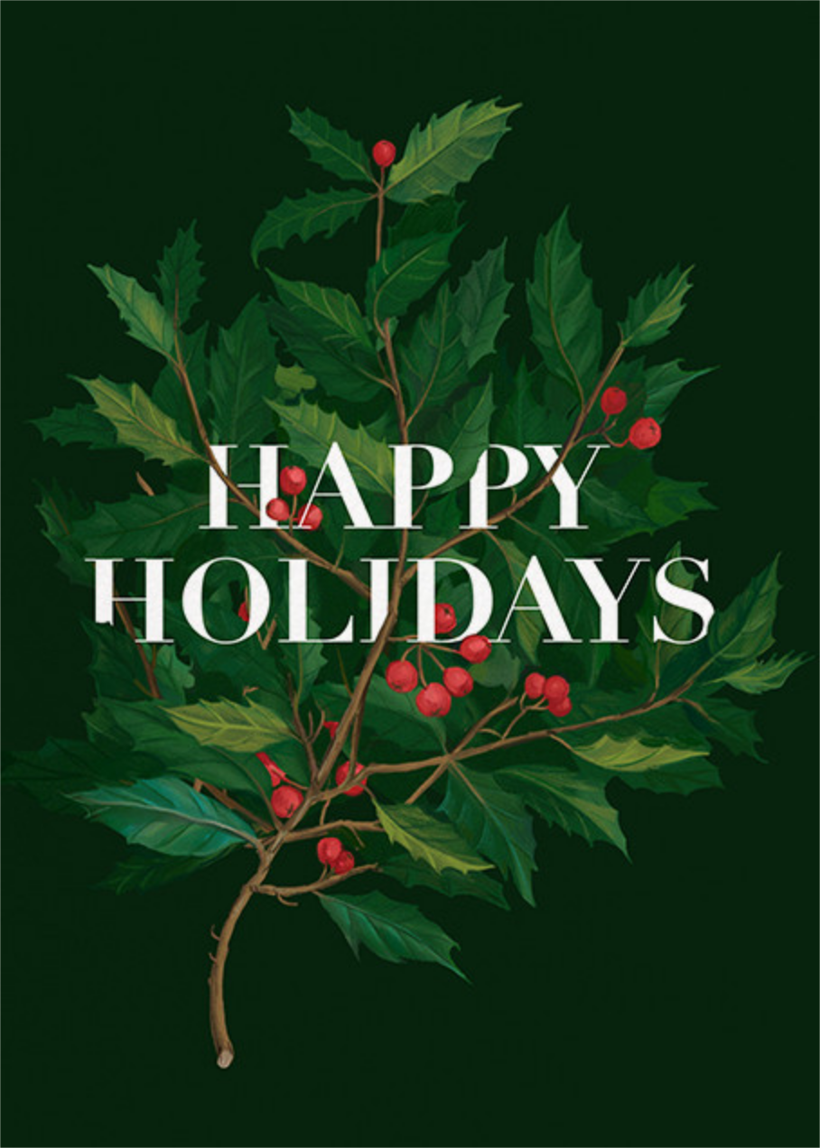Holly Branch Holiday - Paperless Post - Business holiday cards
