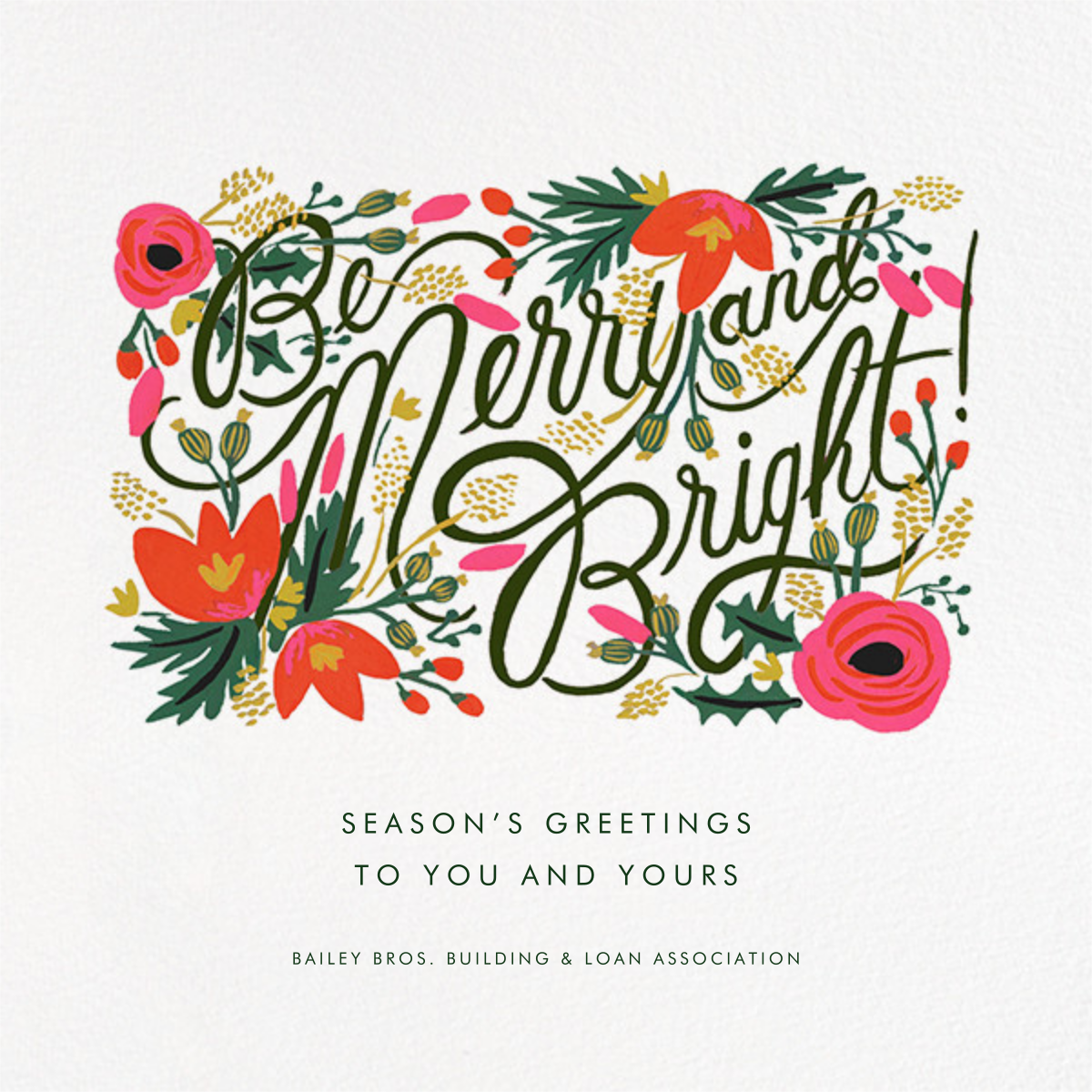Merry, Bright, and Blooming - Rifle Paper Co. - Company holiday cards