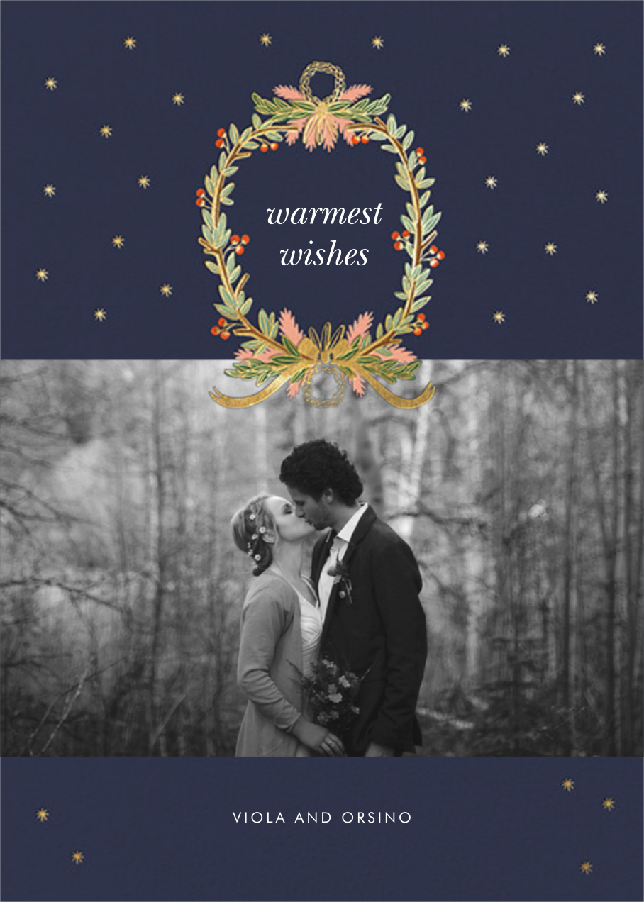 Midnight Wreath (Landscape Photo) - Navy - Rifle Paper Co. - Holiday cards