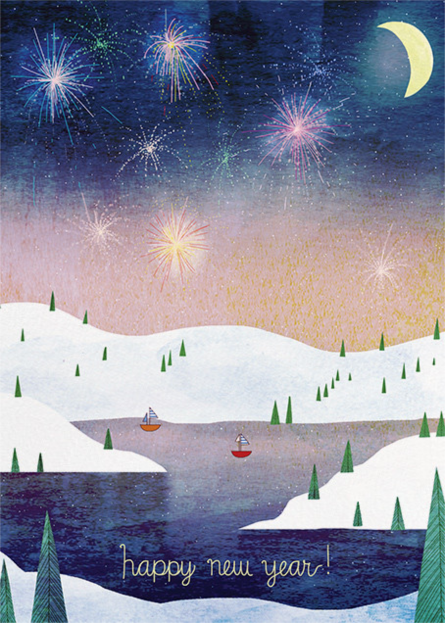 Boats and Fireworks (Josie Portillo) - Red Cap Cards - New Year