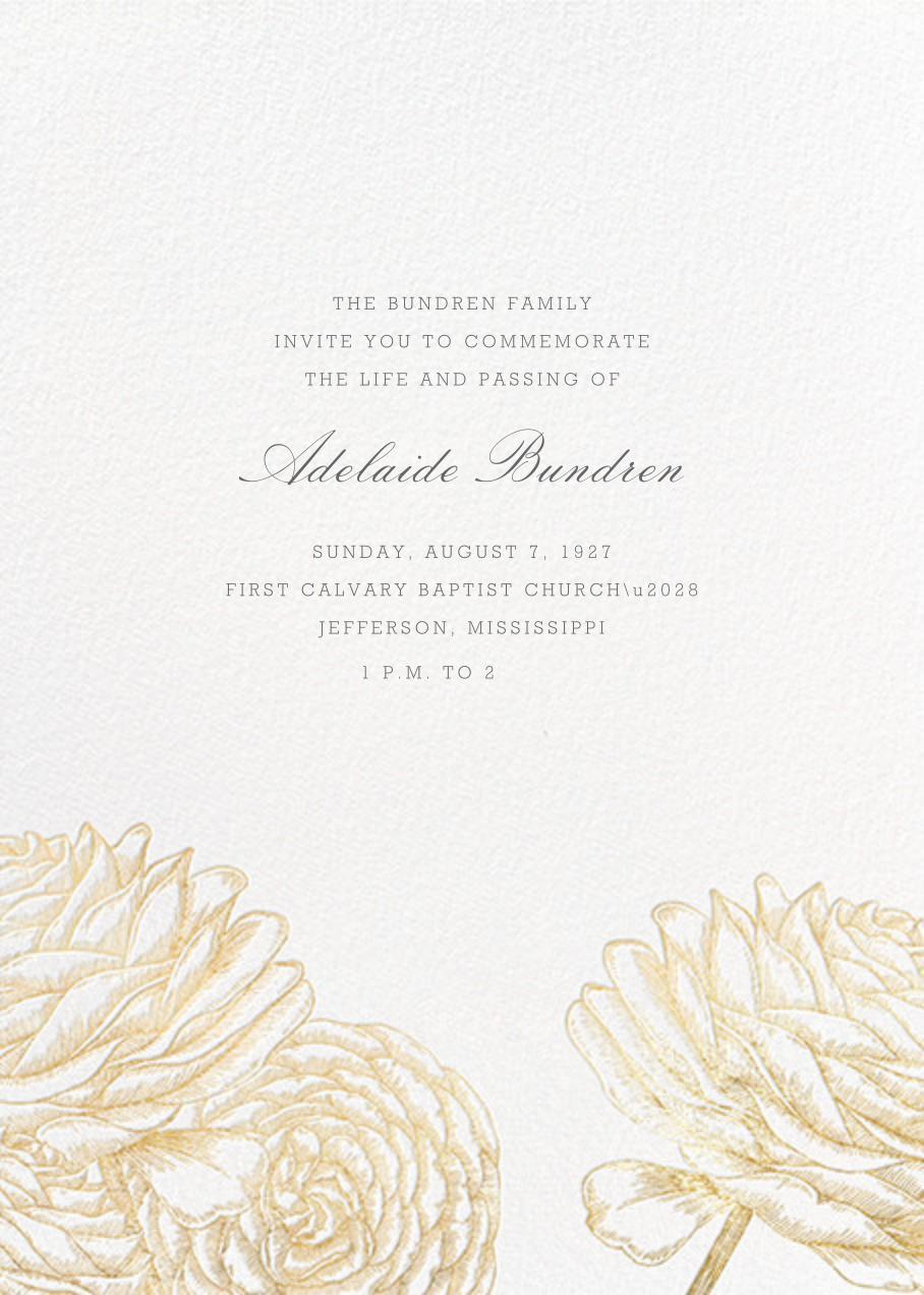 Ranunculus - Gold - Paperless Post - Memorial service