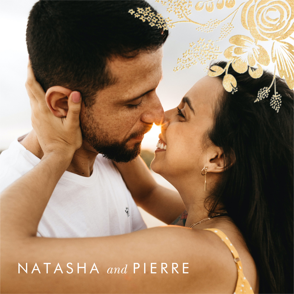 Heather and Lace (Photo Announcement) - Gold - Rifle Paper Co.